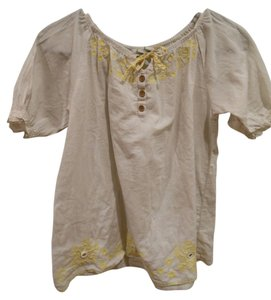 Old Navy Yellow Mirror Brown Wood Buttons Patterns Summer Xxl Loose Flowy Tunic