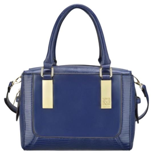 Preload https://item4.tradesy.com/images/anne-klein-bar-it-all-solid-color-blue-faux-leather-satchel-4163083-0-0.jpg?width=440&height=440