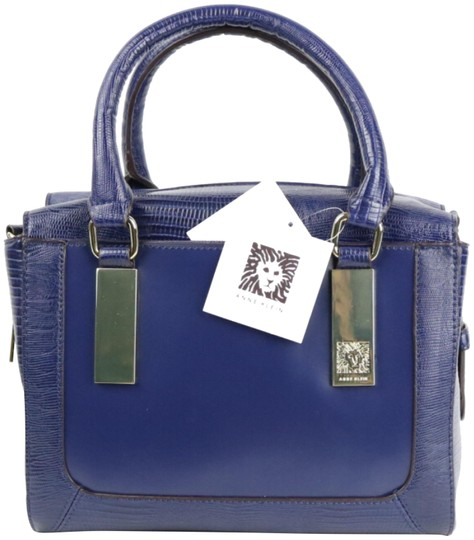 Preload https://img-static.tradesy.com/item/4163083/anne-klein-bar-it-all-solid-color-blue-faux-leather-satchel-0-2-540-540.jpg