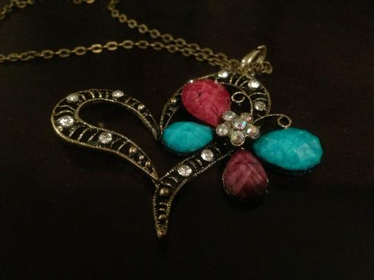 Other Gorgeous sparkling Swarovski crystal heart butterfly necklace