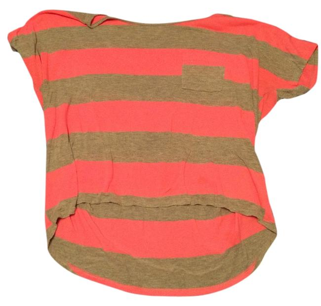Preload https://item5.tradesy.com/images/striped-pocketed-pink-and-gray-tee-shirt-size-12-l-4163434-0-0.jpg?width=400&height=650