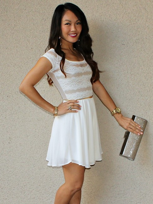 Other Lace Mesh Fit And Flare White Sheer Back Cap Sleeves Bride To Be Engagement Party Bachelorette Bridal Dress