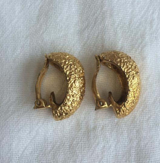 Other Gold Tone Textured Clip On Earrings