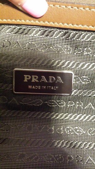 Prada Handbag Leather Nylon Buckle Cute Neutral Shoulder Bag