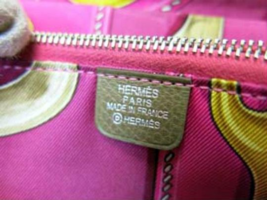 Hermès Authentic Hermes AZAP Long Wallet in Etoupe Epsom with Electric Pink Silk Interior