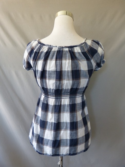 Max Studio Plaid Smock Bohemian Top