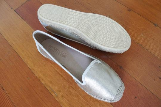Sperry Espadrille Leather Slip On Metallic Flats