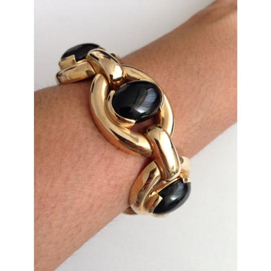 Retro 14k Gold Heavy Black Onyx Bracelet. Retro Heavy 14k Gold Black Jade Bracelet.