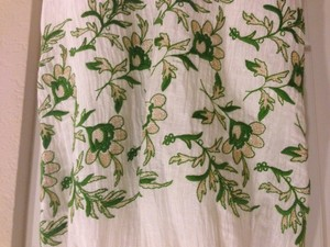 BHLDN Ivory with Green and Gold Silk Linen Frondescence Destination Wedding Dress Size 4 (S)