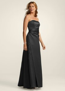 David's Bridal Black Satin And Organza Gown with Beaded Inset Style F12 Formal Bridesmaid/Mob Dress Size 8 (M)