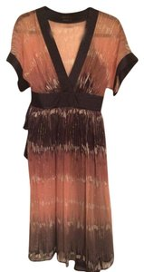 BCBGMAXAZRIA Kimono Tie Dye Blush Navy Gold Cocktail Dress