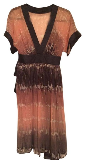 BCBGMAXAZRIA Kimono Tie Dye Blush Navy Gold Dress