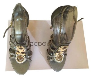 BCBGeneration Wooden Bling On The Instep Golden Woven Santos/Santos Sandals