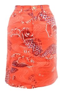 Moschino Koi Bold Bold Pattern Art Fish Skirt Red