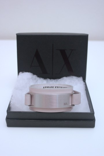 A|X Armani Exchange Metal Plate Leather Cuff