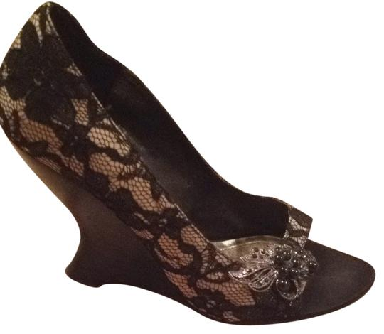 White House | Black Market Nude with Black Lace Formal