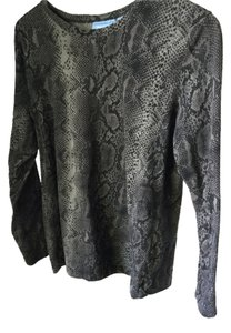 Simply Vera Vera Wang Snakeskin Exotic Sexy Office Date Night Night Out Fall Winter Holidays Travel Party Top Black Gray
