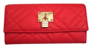 A|X Armani Exchange Red Wallet with Gold Lock Embellishment