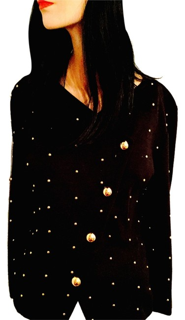 Adrienne Vittadini Asymmetrical Office Date Night Night Out Holiday Travel Day Black with Brass Studs Jacket