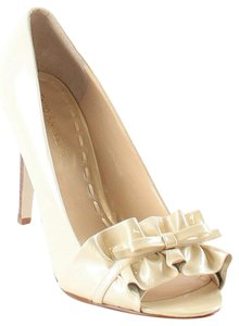 Enzo Angiolini Patent Leather Ruffle Bow Peep Toe Beige Pumps
