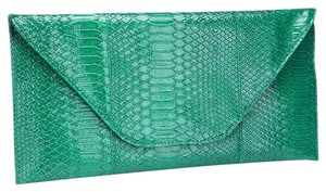 Other Snake Skin Print Green Clutch