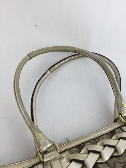 Coach Satchel in Khaki and Pale Gold