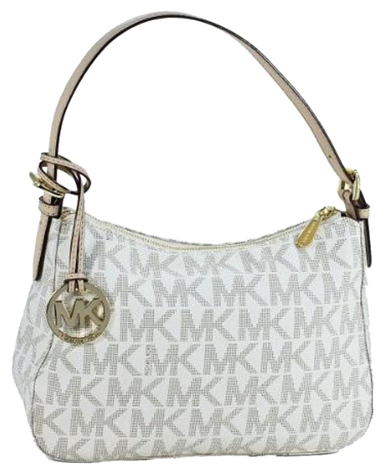 f08733efd1 Michael Kors Mouse Over Image To Zoom Michael-kors-signature-item-small-top -zip-shoulder-bag-purse-vanilla-white-brown Have One To White Beige Pvc  Shoulder ...