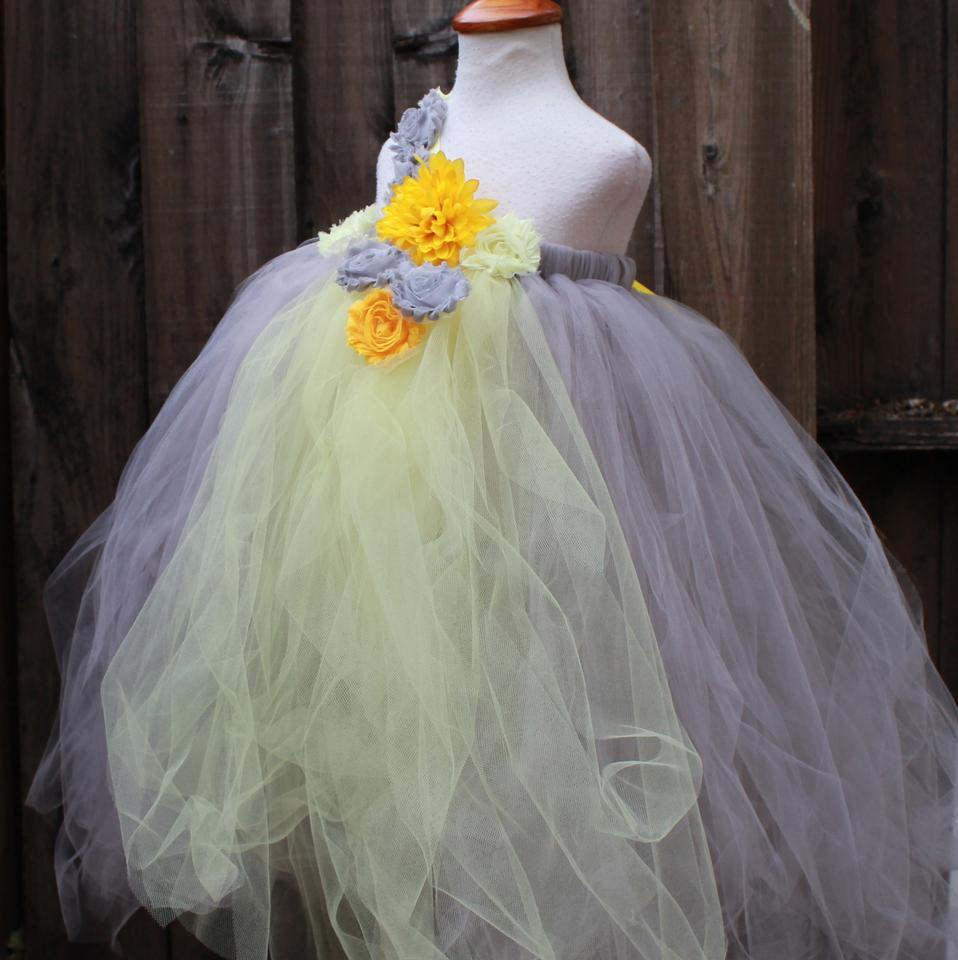 Grey Yellow Tulle Custom Made One Shoulder Flower Girl Lemon Flower