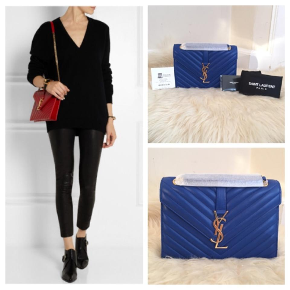 e04d9e776cd Saint Laurent Monogram Matelasse Blue Leather Shoulder Bag - Tradesy