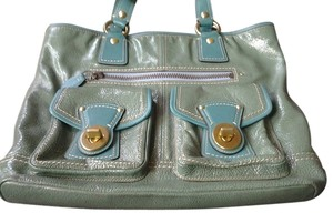 Coach Patent Leather Blue Green Tote in Turquoise
