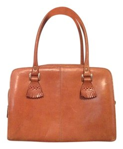 Perry Ellis Vintage Fringe Satchel in Cognac