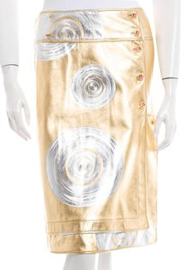 Fendi Silver Logo Monogram A Line Leather New M Medium Textured Embellished Print Skirt Gold