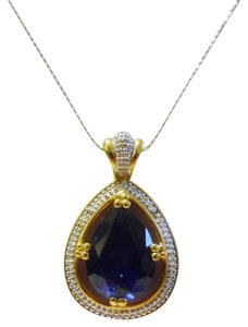 Technibond Technibond Lab Created Dark Sapphire Pendant with 18 Inch Chain