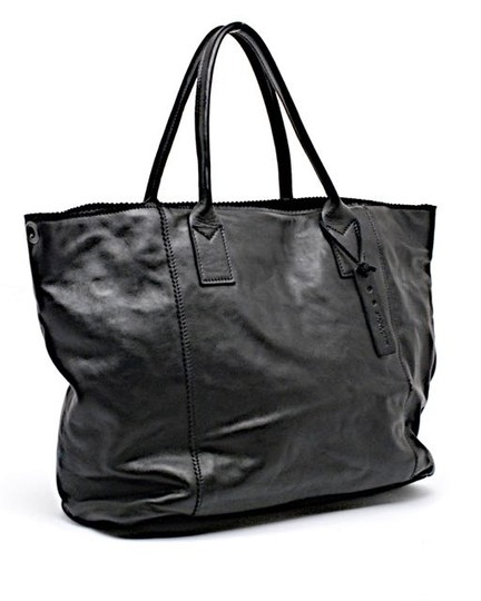 JACK GOMME Leather Tote in Black