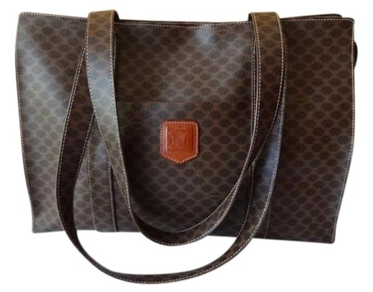 Céline Leather Macadam Tote in Brown