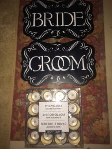 48 Gold Mercury Votives With Led Tealights/ Bride And Groom Sign