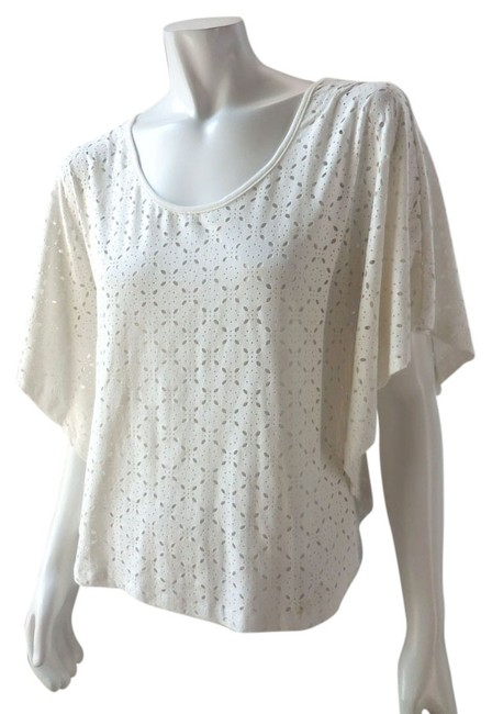 Item - White Ivory Laser Cut Micro Suede Blouse Size 6 (S)