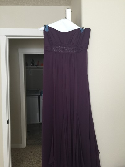 David's Bridal Plum Chiffon F14865 Formal Bridesmaid/Mob Dress Size 10 (M)
