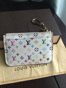 fcbad3e21685 Louis Vuitton Key Cles Coin Holder Coin Pouch Coin Chain White   Mulitcolor  Clutch
