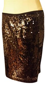 Carmen Marc Valvo Sequin Straight Black Classic Skirt