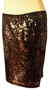 Carmen Marc Valvo Sequin Straight Black Skirt