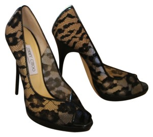 Jimmy Choo Lace Mesh Print Black Pumps