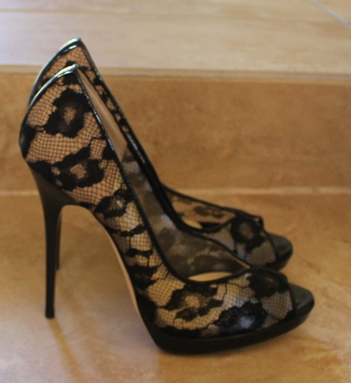 Jimmy Choo Lace Mesh Print Peep Toe Stiletto Platform Blair Black Pumps