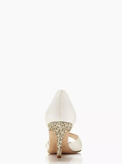 Kate Spade Wedding Glitter Gold Bow New White Pumps