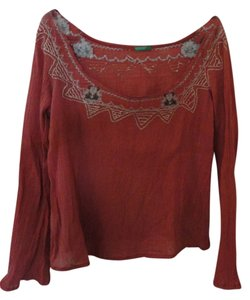 United Colors of Benetton Embroidery Top Dark Coral