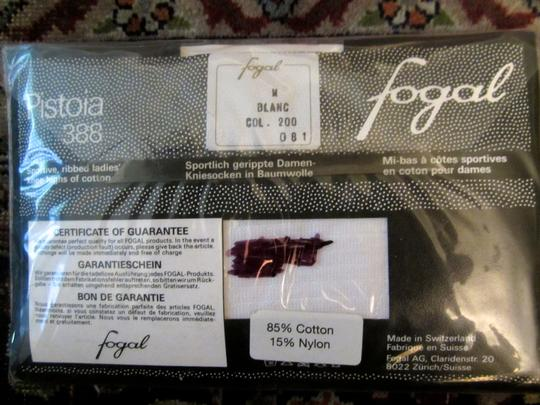 Other FOGAL PISTOIA 388 WHITE KNEE-HIGHS RIBBED COTTON / NYLON
