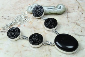 Classic Black Onyx & Silver Necklace Free Shipping