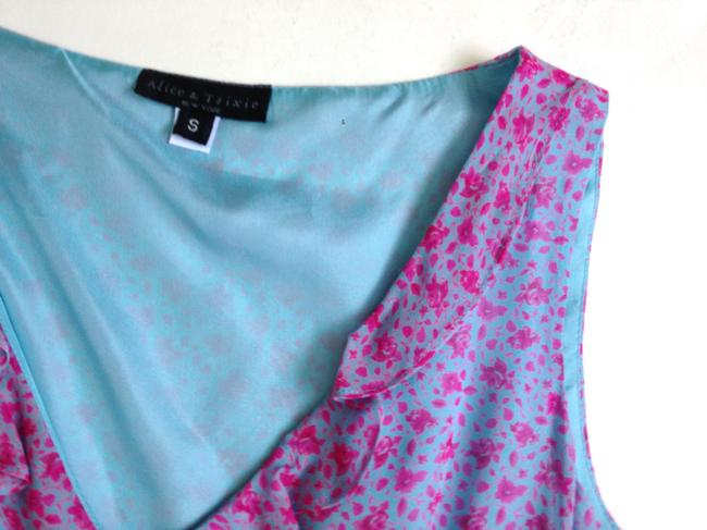 Alice & Trixie short dress Blue, Pink Floral Small And Summer Size 6 on Tradesy