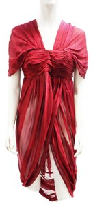 Alexander McQueen New 2008 Runway Silk Draped Semi-sheer Dress Tunic S M Top Burgundy Red