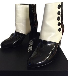 Chanel Bootie Leather Black and White Boots